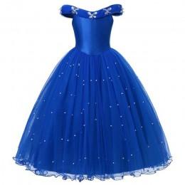 MUABABY księżniczka kopciuszek element ubioru ubrania dziewczyna Off ramię korowód suknia dzieci Deluxe puszysty koralik kostium