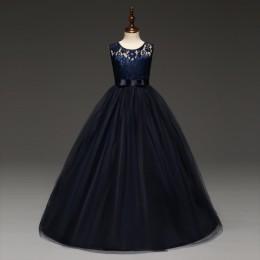 5-14 lat sukienka dla dziewczynek ślubny tiul koronka długa sukienka dla dziewczynek elegancka księżniczka strona korowód suknia