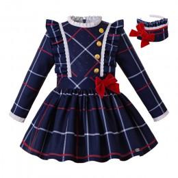 Pettigirl niebieska siatka dziewczęca sukienka z guzikiem z pałąkiem na głowę i na zimę z kokardką dla dzieci garnitur szkolny