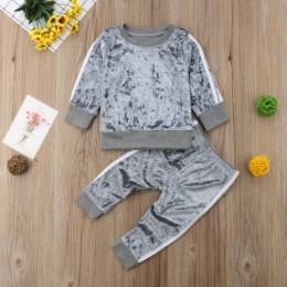 2019 jesień zima aksamitne dzieci dziewczynek ubrania zestawy jednolity kolor, długi rękaw T-shirt topy + spodnie 2 sztuk zestaw