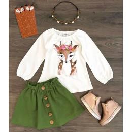 Emmababy 2 sztuk maluch dzieci dziecko dziewczyna ubrania boże narodzenie koszulki z jeleniem + spódnice jesień odzież zestaw
