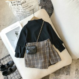 Jesień olde zestaw ubrań dla dziewczynek spódnica w kratę moda w pasie spodenki dziecięce odzież zestaw spódnice dla dzieci dzie