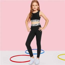 SHEIN czarne litery krótka koszulka z nadrukiem i spodnie odzież dla dziewczynek dwuczęściowy zestaw 2019 odzież sportowa moda b