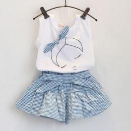 2018 marka letnie dziewczyny odzież ustawia moda bawełna drukuj z krótkim rękawem t-shirt i szorty dziewczyny ubrania dresy spor
