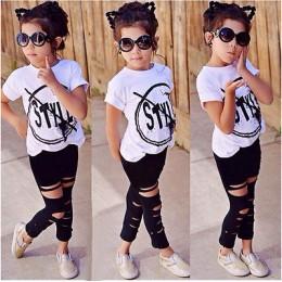 2020 dzieci dziewczyny ubrania zestaw dla dzieci dziewczyna lato z krótkim rękawem t-shirt z nadrukiem + dziura spodnie legginsy