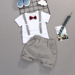 Letnie dzieci chłopcy ubrania z kokardą zestawy dziecko Gentleman wysokiej Qulity krótki T shirt + spodnie maluch chłopiec odzie