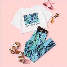 SHEIN Kiddie Girls list i koszulka z nadrukiem roślinnym z legginsami Boho zestawy dwuczęściowe 2019 lato z krótkim rękawem Skin