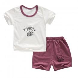 Dziecko bawełna Cartoon zestawy czas wolny sport maluch dzieci dziewczyny chłopcy lato rozmiar ubrania 1 2 3 4 rok dzieci odzież