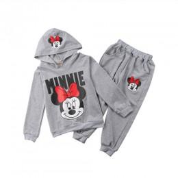 2 sztuk dziewczynek dzieci Minnie Mouse ubrania z długim rękawem z kapturem płaszcz spodnie stroje Casual Sporting Sweatsuit 2-7