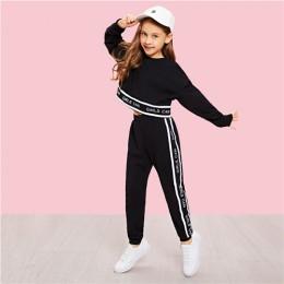 SHEIN dziewczyny napis wykończenia luźny pulower i zestaw spodni dzieci odzież 2019 wiosna odzież sportowa z długim rękawem dzie