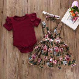 Telotuny kid zestaw zwykłej odzieży 100% bawełna 3 sztuk dziecko małe dziewczynki dzieci kombinezony spódnica + pałąk + Romper u