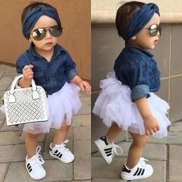 Baby Girl zestawy odzieży letniej dziewczynek ubrania koszula dżinsowa Top + Tutu spódnice + pałąk 3 sztuk zestawy strojów 0-5T
