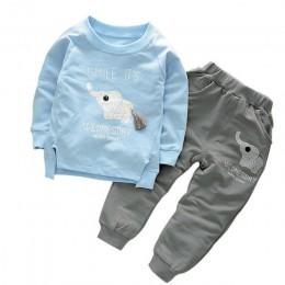 Zestawy ubrań dla dzieci Boys Baby dziewczyny Cartoon słoń bawełna zimowa odzież dziecięca t-shirt + spodnie garnitur darmowa wy