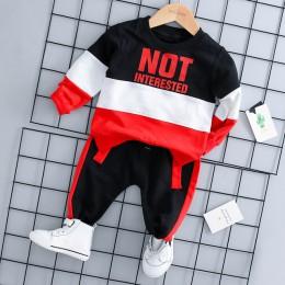 2019 wiosna dziewczynka chłopiec odzież odzież dla niemowląt garnitury Casual sportowa bawełna T koszula spodnie 2 sztuk/zestawó