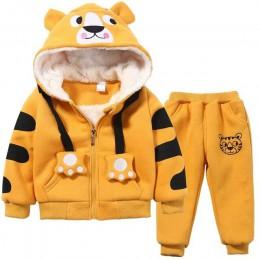 Śliczne chłopcy dziewczęta Cartoon tygrysy odzież garnitury dziecko Plus aksamitne spodnie bluza z kapturem 2 sztuk zestawy dzie