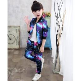 Zestawy ubrań dla dziewczynek 2019 moda dla dzieci aktywne kurtki płaszcz z suwakiem i zestaw spodni odzież dla dzieci jesień st
