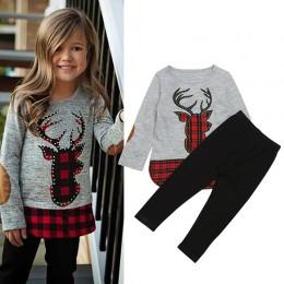 2018 jesienne i zimowe ubrania dla dziewczynek nadruk jelenia t-shirty + długie spodnie 2 szt. Strój bożonarodzeniowy dla dzieci