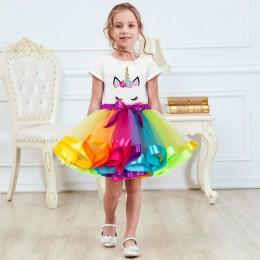 Jednorożec odzież ustawia dziewczynek ubrania 2019 lato księżniczka Party jednorożec kolorowe tutu sukienka dzieci suknia na prz