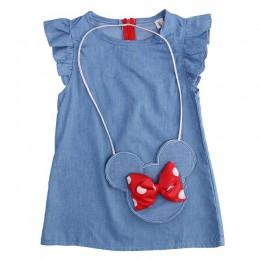 2019 dzieci dziewczynka sukienka Minnie Mouse torba + Demin latające rękawy sukienka suknia Party Dress ubrania bez rękawów dzie