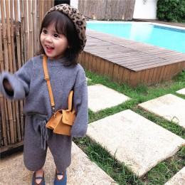 Jesień 2019 nowy koreański wersja dziewczyna rozrywka luźne przędzy rdzeniowej przędzy sweter garnitur z szerokim legging dla dz