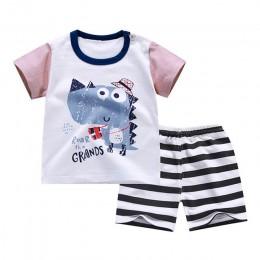 W kształcie litery T Shirt + krótkie spodnie 2019 Baby Boy dziewczyny zestawy odzieżowe bawełniane ubrania stroje Bebes garnitur