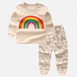 Zestawy ubrań dla chłopców dziewczęta piżamy bawełniana kurtka jesienna koszula za zimę + spodnie 2 szt. Chłopięca odzież wizyto