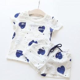 2 sztuk/zestawów, Casual odzież dla dzieci dziewczynek ubrania zestawy letni nadruk serce dziewczyna topy koszule + spodenki gar