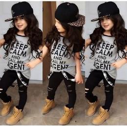 Maluch dzieci dziewczynek z krótkim rękawem T-shirt spodnie legginsy stroje ubrania 2-7T dziewczynek odzież zestaw dziewczyna ub