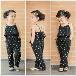 Nowe mody letnie dzieci dziewczyny odzież ustawia bawełna bez rękawów Polka Dot pasek dziewczyny kombinezon ubrania zestawy stro