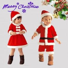 2020 nowy rok ubrania świąteczne dla dzieci święty mikołaj role-playing kostiumy karnawałowe party Christmas girl red dress boy