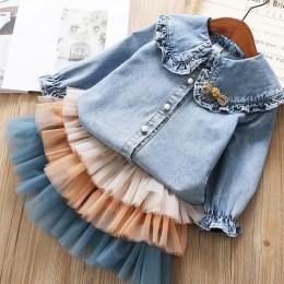 IYEAL dziewczyny odzież ustawia 2019 nowa wiosna dzieci ubrania z długim rękawem jeansowe koszule + Tutu ciasto spódnica 2 sztuk