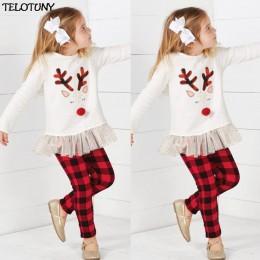 2019 moda maluch dzieci dziewczynka Deer T shirt topy + spodnie w kratę zestaw ubrań bożonarodzeniowych IU30 Dropshoper