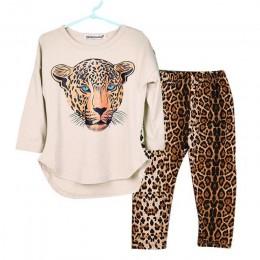 Dziewczyna ubrania zimowe maluch zestawy dla dzieci Leopard z długim rękawem kostium garnitur dzieci odzież 5 6 7 8 9 10 12 lat