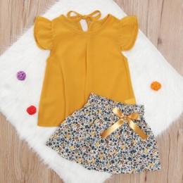 Śliczne maluch Kid dziewczyny bez rękawów bluzka z szyfonu żółty w kwiaty spódnice Tutu 2 szt ubrania zestaw strój komplet garni
