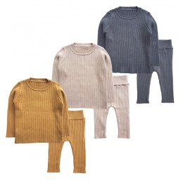 2020 wiosna nowy 6 M-4 T zimowy zestaw ubranek dla dziewczynki dzianiny chłopcy zestaw swetry + spodnie 2 szt. Odzież dla dzieci