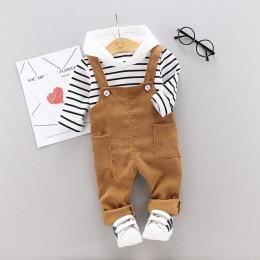 Wiosna jesień dziecko chłopcy dziewczęta ubrania niemowlę bawełniane w paski T Shirt spodnie na szelkach 2 sztuk/zestawów odzież