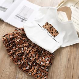 Dziewczyny ubrania zestaw 2019 lato biała koszula + Leopard ciasto spódnica 2 sztuk naszyjnik ustawia Kid podstawowe Casula bawe