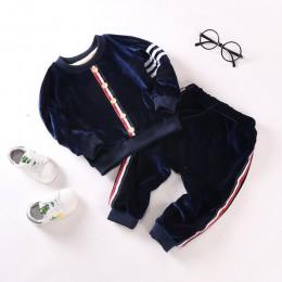 2019 zestawy ubranek dla chłopca zimowy ciepły strój sportowy dla dziewczynek moda plus aksamitne ciepłe bluzki + spodnie 2 szt.