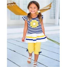 TANGUOANT letnie dziewczyny odzież ustawia dziecko dzieci ubrania garnitur dzieci bez rękawów koszulka w paski + spodnie roupas