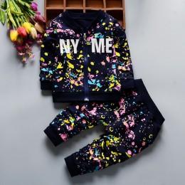 Wiosna jesień Boys Baby dziewczyny drukuj tusz odzież garnitury kurtka dla dzieci spodnie 2 sztuk/zestawów moda dzieci ubrania m