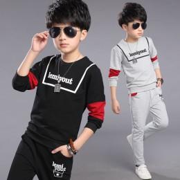 Chłopcy zestawy jesień dresy sportowe duzi chłopcy alfabet chłopcy dzieci zestawy utworów czarny szary kolor 4-12 14 lat dziewcz