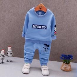 Wiosna jesień dziecko chłopcy ubrania z pełnym rękawem T-shirt i spodnie 2 szt garnitury bawełniane zestawy ubrań dla dzieci mal