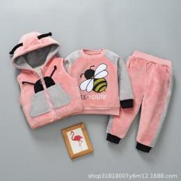 Boys Baby dziewczyny ciepły zestaw zimowy kot kreskówkowy dzieci pogrubienie kamizelka z kapturem + sweter + spodnie trzyczęścio