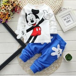 Chłopcy dziewczęta odzież ustawia dzieci bawełniany strój sportowy dzieci Mickey Minnie Cartoon T-shirt i zestaw spodni dziecięc