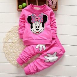 Dziewczynek Mickey Minnie odzież zestaw jesień czyste zestawy odzieżowe bawełniane dla dziewczynek pełna koszula i spodnie zesta