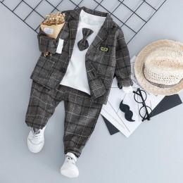 Baby Boy moda odzież formalna zestaw Kid Tie garnitury wysokiej jakości babie lato dzieci ubrania 1 2 3 4 lat