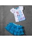 2015 dziewczyny sukienka księżniczki elsy + T shirt 2 sztuk zestaw 3-8Age niebo niebieski warstwowa Tutu zestawy sukienek