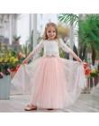 2020 wiosna lato zestaw odzież dla dziewczynek pół rękaw koronkowy top + szampan różowy długi spódnica ubrania dla dzieci 2-11T