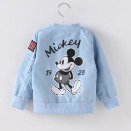 2019 Mickey Denim Jacket dla chłopców modne płaszcze odzież dziecięca jesień dziewczynek odzież wierzchnia Cartoon kurtki dżinso