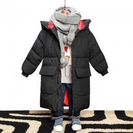 Kurtka dla chłopców 2019 nowy marka kurtki zimowe z kapturem Graffiti kamuflaż parki dla nastolatków chłopcy gruby długi płaszcz